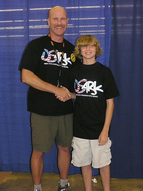 Andrew Wyatt President of USARK with next generation herper and USARK member Joe Richburg at San Antonio show 06/05/10