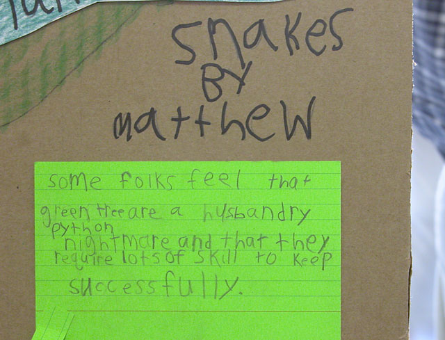 In the Opinion of a First-Grader...: Young Matthew at the Exhibit Fair thought this little bit of wisdom was worth passing on...
